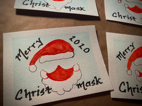 """Merry """"Christmask"""" 2020 watercolor holiday cards"""
