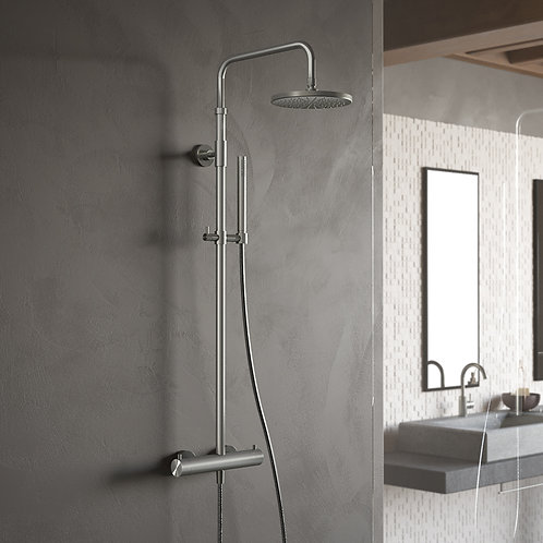 Thermostatic Mixer Shower Kit Brushed Steel