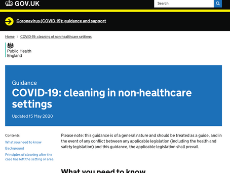 Covid-19 Government Advice on Disinfecting Non-Healthcare Envirnoments