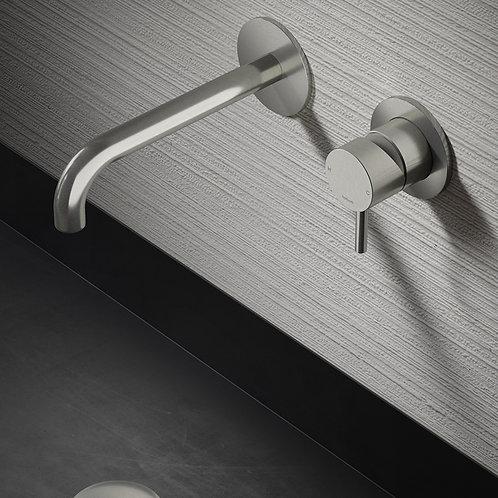 Concealed Washbasin Mixer Brushed Steel