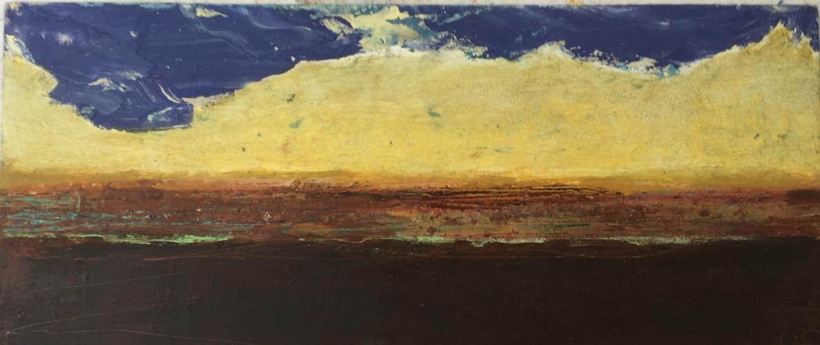 horizonte 22 x 51 cm. oil+coldwax