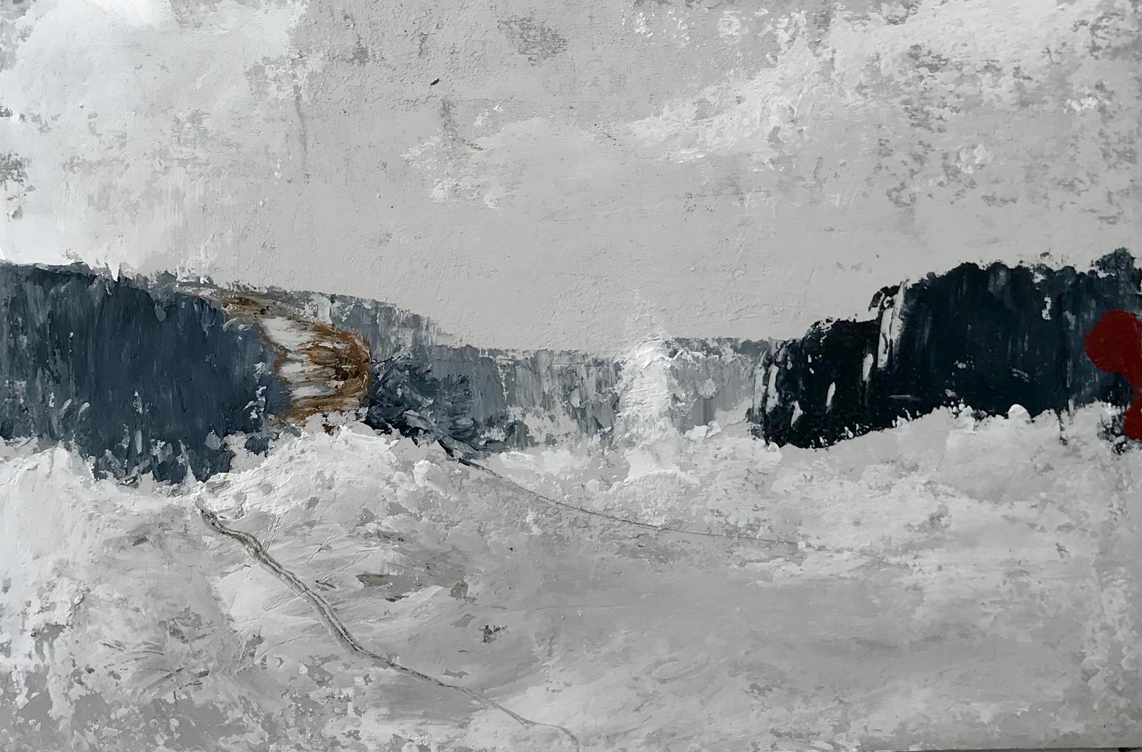Nieve. 19,8 x 30 cm. Acrilico+coldwax