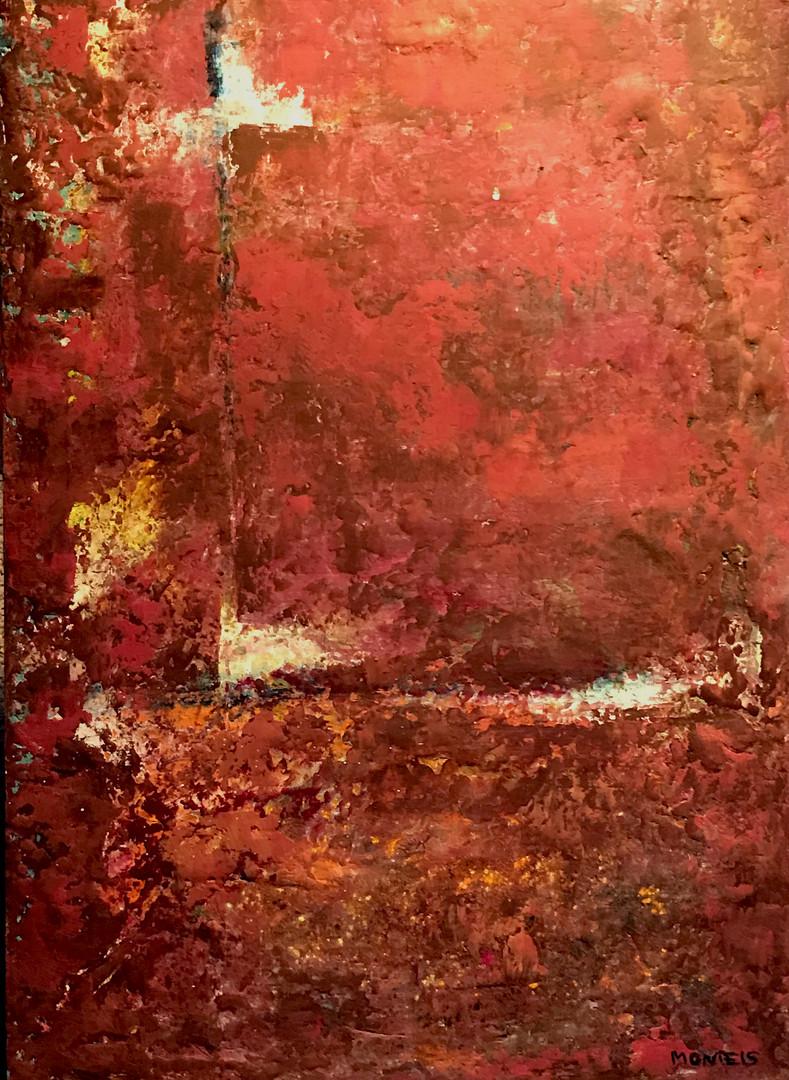 Rojo. 70 x 50 cm . Acrylic+coldwax