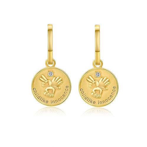 Gold Coin Hoop Earring