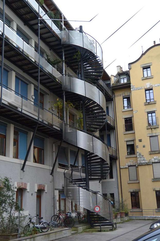 Beausite à Genève, escalier colimaçon