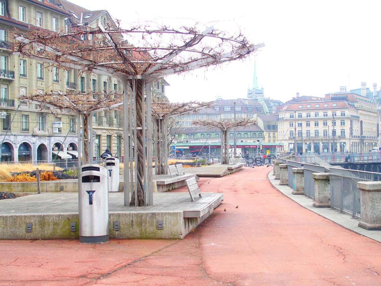 Place Bel-Air Lausanne, arbres et bancs