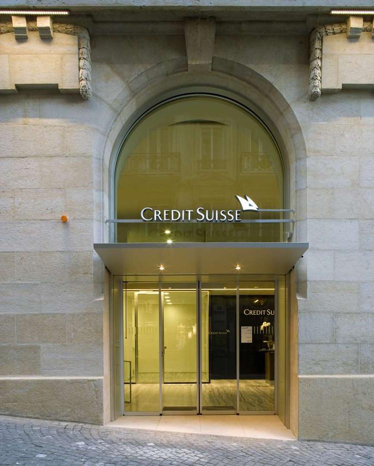 Porte Credit Suisse à Lausanne, vitrages voûtés