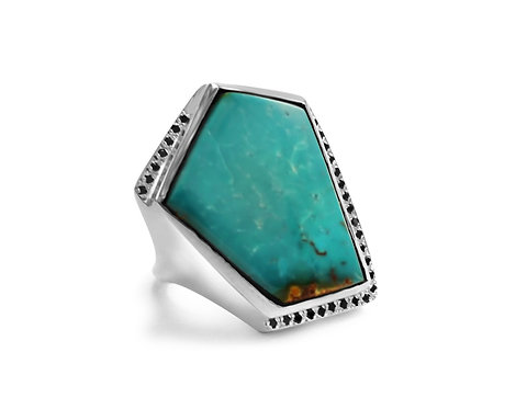 Sylvie Turquoise Ring with Black Diamonds