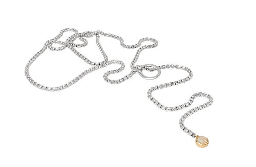 Slender Box Chain Lariat with gold encircled opal