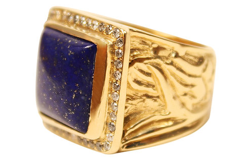 Lapis with Salt and Pepper Diamond Pavé in 14k