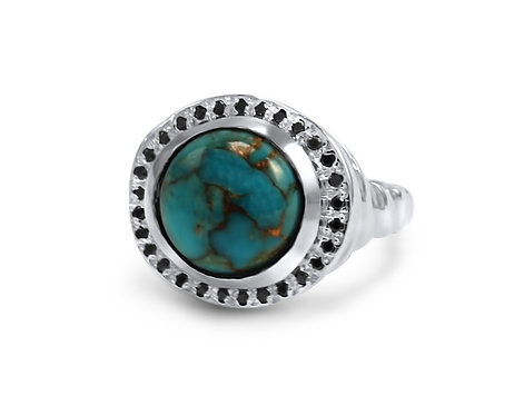 Celine Turquoise Ring with Black Diamonds