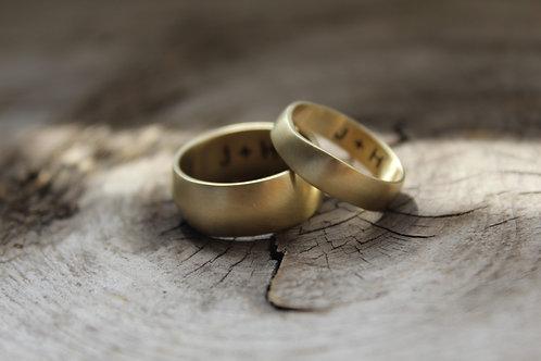 14k matte gold organic wedding band