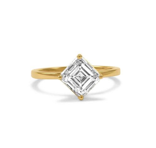 Asscher Cut Diamond in Slender Setting