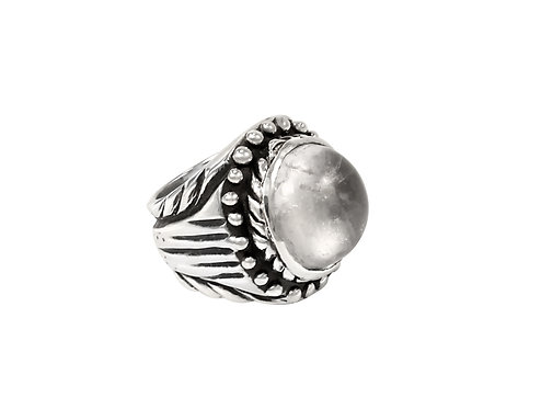 Hand carved sterling ring with crystal ball