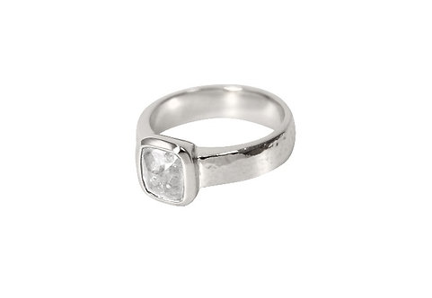 Salt and pepper natural diamond set in delicately textured platinum band