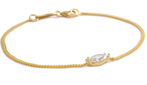 Marquis Diamond Curb Chain Love Bracelet