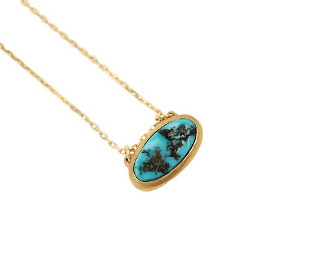Threaded Turquoise Gold Necklace