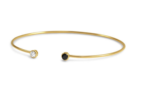 Gold cuff bracelet,dainty cuff bracelet,diamond cuff bracelet,katherine lincoln,brooklyn jeweler,black diamond bracelet