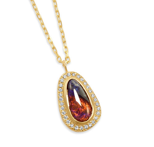 opal pendant, opal necklace, custom necklace, opal and diamond, katherine lincoln