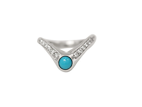 Notch Ring with Turquoise