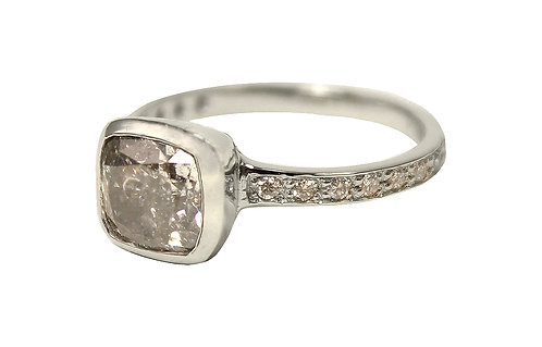 Natural salt and pepper diamond set in platinum with pavé band