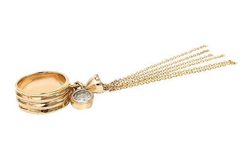 Blue Topaz and Tassel Gold Ring