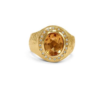 Topaz with Diamond Pavé set in Organic Textured 14k Gold