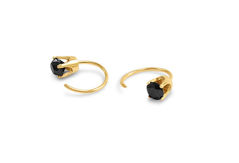 Perla Black Diamond Open Hoop Earrings