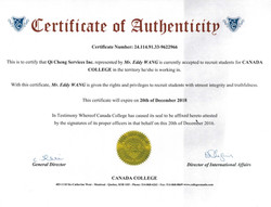 Certificate of Autherization canada coll