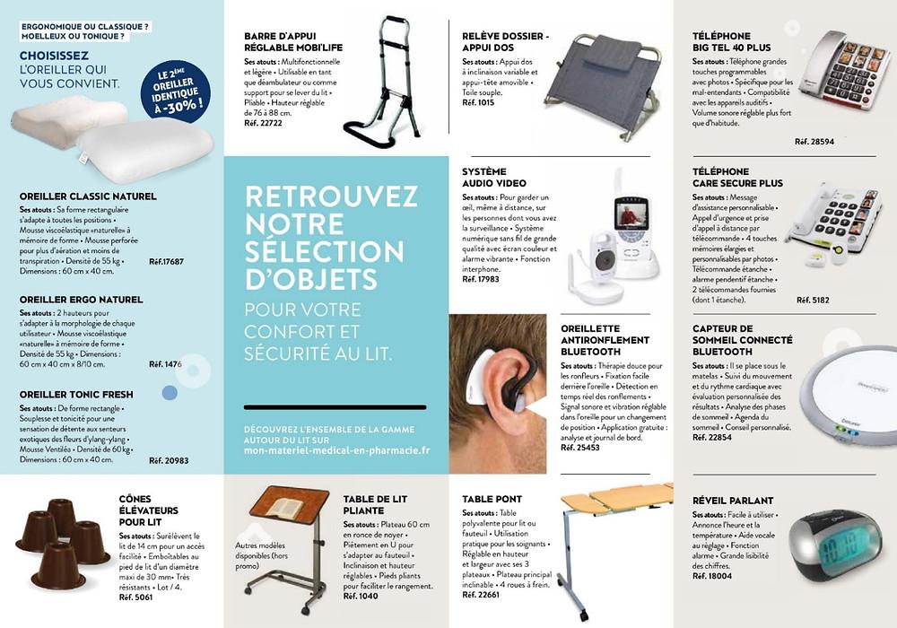 materiel médical lit oreillers telephone et oreillette