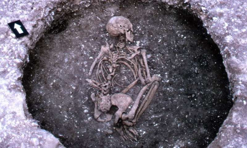 A typical prehistoric burial in a crouched fetal position. Credit: Philip Farrell, CC BY-SA