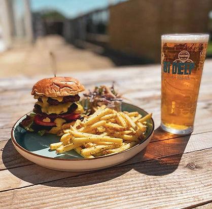 burger and beer at the waypoint painswick.jpg