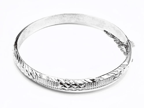 VINTAGE STERLING SILVER BANGLE WITH SAFETY CHAIN
