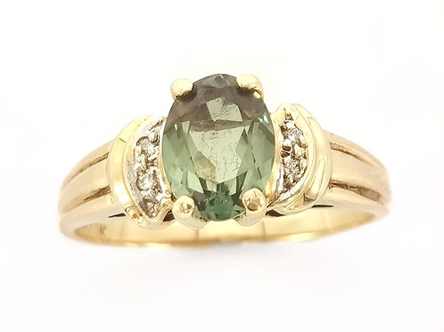 10K EMERALD RING WITH DIAMONDS