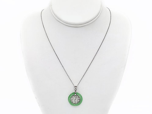 """STERLING SILVER JADE NECKLACE - 20.5"""""""