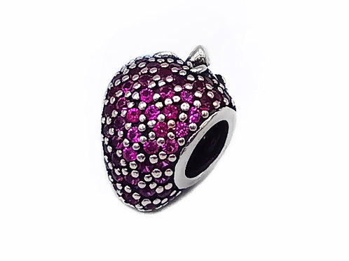 AUTHENTIC PANDORA RED PAVE STRAWBERRY CZ SILVER CHARM #791899