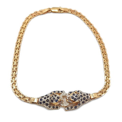 10K YELLOW GOLD DOUBLE PANTHER HEAD WITH RUBY EYES & DIAMONDS BRACELET