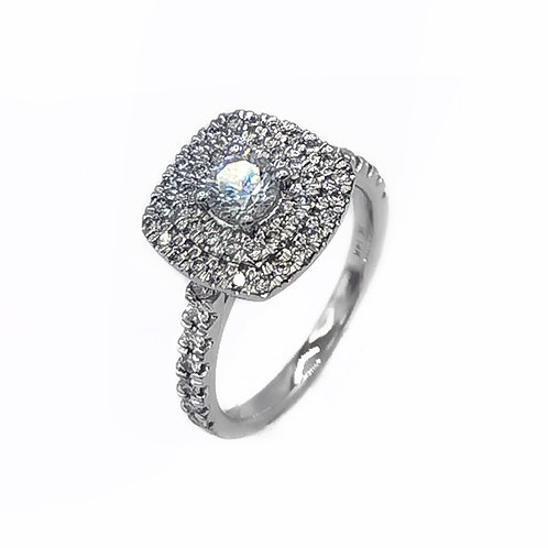 0.87CT T.W. DIAMOND CUSHION HALO RING IN 14K WHITE GOLD - SIZE 4