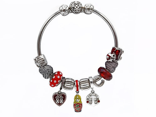 """AUTHENTIC PANDORA MOMENTS BANGLE BRACELET WITH CHARMS - 2"""""""