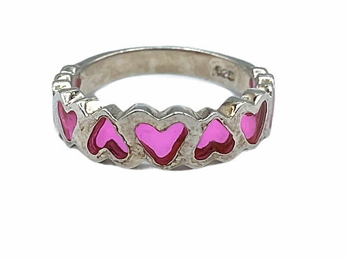 925 STERLING SILVER HEART SHAPED RING - size 6.25