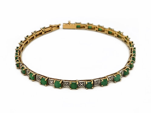 10K YELLOW GOLD EMERALD TENNIS BRACELET - 8""