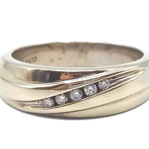 10K SOLID WHITE GOLD MEN RING WITH DIAMONDS