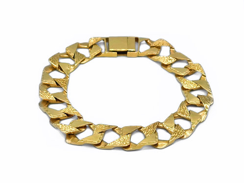 "10K YELLOW GOLD DIAMOND CUT CUBAN LINK BRACELET - 9.5"""