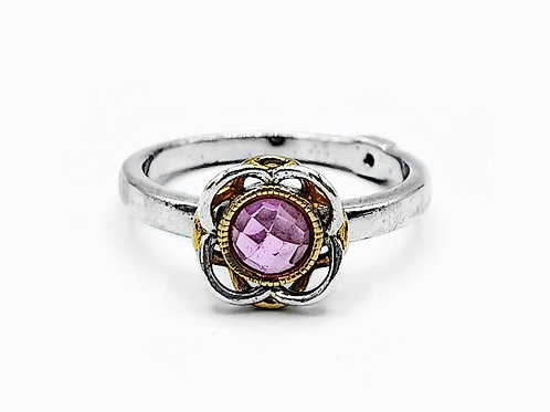 ELLE JEWELRY SILVER FLORAL RING WITH PINK STONE - SIZE 7