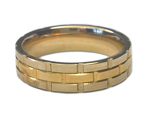 10K TWO-TONE WHITE AND YELLOW GOLD  BRICK PATTERN RING