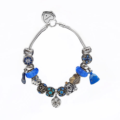 AUTHENTIC PANDORA DISNEY CINDERELLA BRACELET WITH CHARMS - 8""