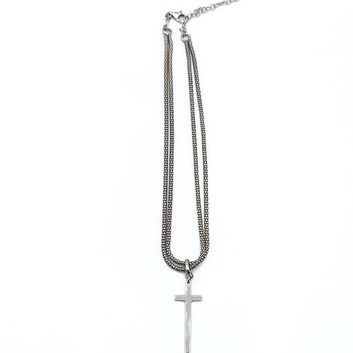 925 STERLING SILVER DYADEMA CHAIN WITH CLASSIC CROSS PENDANT