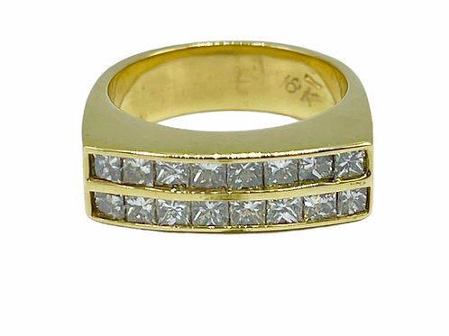 18K YELLOW GOLD RING WITH DIAMONDS - size 8
