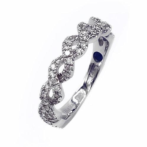 VERA WANG LOVE 14K WHITE GOLD 0.23 CT.T.W. DIAMOND BRAIDED WEDDING RING - SZ 4.5