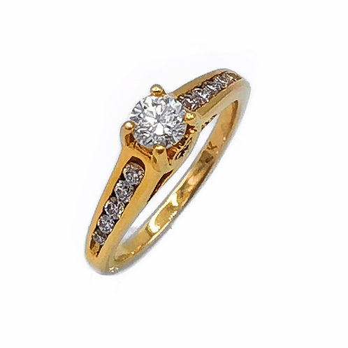 0.45 CT T.W. ROUND SOLITAIRE DIAMOND RING - SIZE 4.75 IN 14K YELLOW GOLD